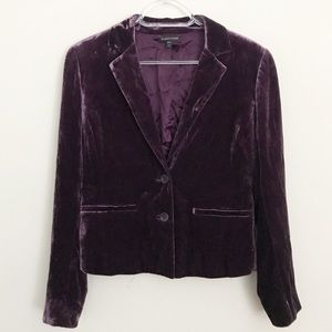 Eileen Fisher Purple Velvet 2 Button Blazer